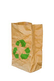 Rumpled brown paper bag opened with green recycle sign, Isolated Royalty Free Stock Photos