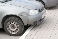 The rumpled car wing after accident Stock Photo