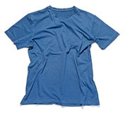 Rumpled and crinkled blue cotton t-shirt Royalty Free Stock Photos