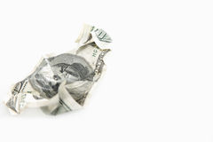 Rumpled Dollar Banknotes. Rumpled Dollars against white background royalty free stock images