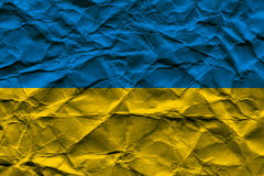 Rumpled Ukrainian Flag Stock Photography