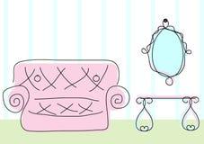 Rumsikten i klotter skissar stil stock illustrationer