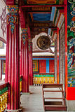 Rumtek Monastery Interior. Paintings in the wall and ceiling and thangkas in interior decoration of Rumtek Monastery. It is famous for its extensive collection Stock Images