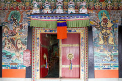 Rumtek Monastery, Sikkim, India. Paintings and decorated door at the Rumtek Monastery, Sikkim, India. Rumtek Monastery is a gompa located near gangtok, capital Royalty Free Stock Image