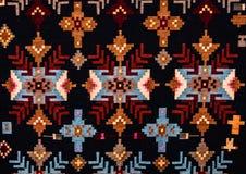 Rumuńscy ludowi bezszwowi wzorów ornamenty Rumuńska tradycyjna broderia Tekstura etniczny projekt Tradycyjny dywanowy projekt Car Zdjęcie Stock