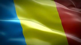 Rumuński chorągwiany zbliżenie 1080p Folował HD 1920X1080 materiału filmowego wideo falowanie w wiatrze Obywatela 3d Rumuński cho royalty ilustracja