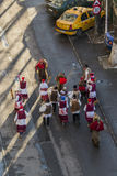 Rumuński rytuał Niedźwiadkowy taniec wykonujący wokoło wigilii Obraz Stock