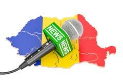 Rumuński wiadomości pojęcie, mikrofon wiadomość na mapie świadczenia 3 d royalty ilustracja
