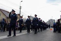 Rumuńskiego święta państwowego parady militarny policjant fotografia royalty free