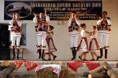 Rumuńscy tradycyjni tanowie od Salaj terenu, Rumunia Zdjęcie Stock