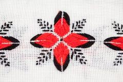 Rumuńska tradycyjna bluzka tekstury i tradycyjni motywy - Obraz Stock