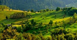 Rumunia, Apuseni góra w wiośnie, tradycyjni domy Zdjęcie Stock