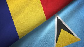 Rumunia Lucia i święty dwa flagi tekstylny płótno, tkaniny tekstura royalty ilustracja