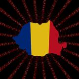 Rumunia mapy flaga na czerwonej hex kodu wybuchu ilustraci royalty ilustracja