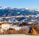 Rumunia natura, wieś krajobraz, sceneria w zimie Obraz Stock