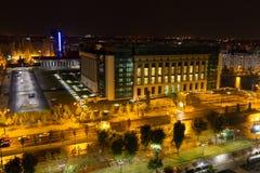 Rumunia ` s Krajowa biblioteka nocą - obrazy royalty free
