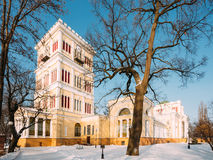 Rumyantsev-Paskevich Palace in snowy winter city park in Gomel, Stock Images
