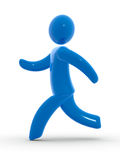 Run. Blue figure running. Concept of health living style or escape Royalty Free Stock Photos