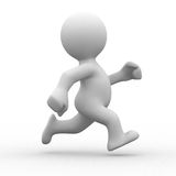Run alone. 3d white human running alone in white background Royalty Free Stock Images