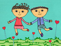 Run away. A cute illustration of a happy couple holding hands while running away vector illustration