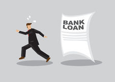Run Away From Bank Loan Cartoon Vector Illustration Stock Images