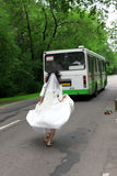 Run Away Bride to bus Royalty Free Stock Images