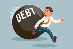Run away businessman debt escape attempt scared stress cartoon character vector illustration Stock Image