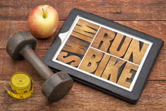 Run, bike, swim - fitness concept Stock Photo