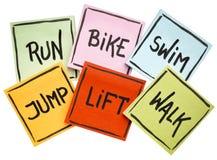 Run, bike, swim, jump, lift, walk - fitness concept. Run, bike, swim, jump, lift, walk  - fitness or cross training concept - handwriting on sticky notes Royalty Free Stock Photos