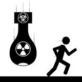 Run from bomb. Vector , illustration. A man is running from a nuclear bomb Royalty Free Stock Images
