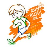 Run boy color vector illustration. Stock Images