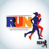 Run club logo template. Sport logotype template, sports club, running club and fitness  logo design template. Man and woman Stock Photo