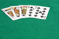 Run of Clubs. An image showing a run of clubs from nine to the King Stock Image