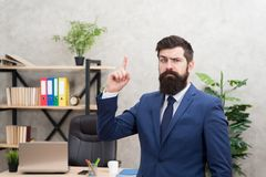 Run a company. Human resources. Job interview. Man bearded top manager boss in office. Business career. Start own. Business. Business man formal suit successful stock photo