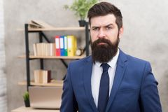 Run a company. Human resources. Job interview. Recruiter professional occupation. Man bearded top manager boss in office royalty free stock images