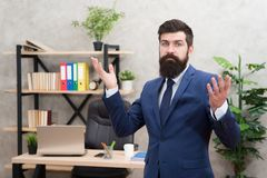 Run a company. Man bearded top manager boss in office. Business career. Start own business. Business man formal suit. Successful guy. Recruiter professional stock photo