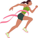 Run for the cure for breast cancer. Young woman running with a pink breast cancer ribbon across her chest, symbolizing breast cancer awareness fundraising event Stock Image