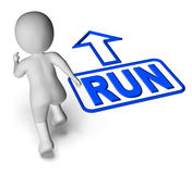 Run And 3D Character Shows Urgent Running Royalty Free Stock Images