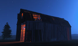 Run down barn at night Stock Photo