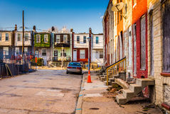 Run-down residential area in Baltimore, Maryland. Run-down residential area in Baltimore, Maryland royalty free stock photos