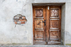 Run-down wooden entrance door Stock Image