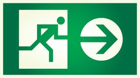 Run exit. Vector  illuminated sign for exit Royalty Free Stock Images