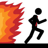 Run from fire. Vector / illustration. A man is running from fire Royalty Free Stock Images