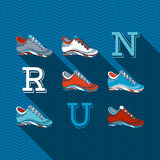 RUN!. Flat sport design with long shadow. Running shoes and text RUN Royalty Free Stock Photography