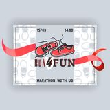 Run for fun banner, flyer vector illustration. Marathon with us, date and time. Sport shoes, sneakers for training. Fitness. Running shoes, trainers. Healthy royalty free illustration