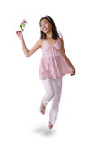 Run girl. Young asian girl run with flower Royalty Free Stock Images