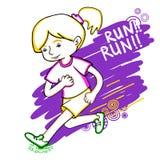 Run girl color vector illustration. Stock Photo