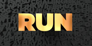 Run - Gold text on black background - 3D rendered royalty free stock picture Stock Image