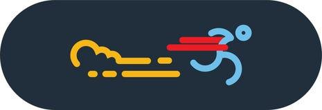 Run Icon Vector. Silhouette Runner at Finish Line. Simple flat symbol. vector illustration. Run Icon Vector. Silhouette Runner at Finish Line. Simple flat symbol Royalty Free Stock Photo