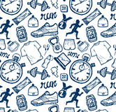 Run icons pattern set in doodle style, hand drawing Royalty Free Stock Photo